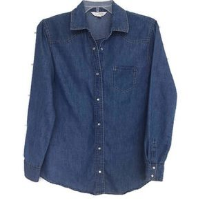 Denim chambray shirt Top M western cowgirl B28
